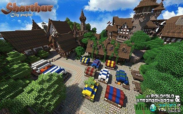 Minecraft Средневековый город Карта для minecraft 1.6.2