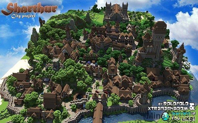 Скачать Карта Средневековый город для Minecraft 1.6.4