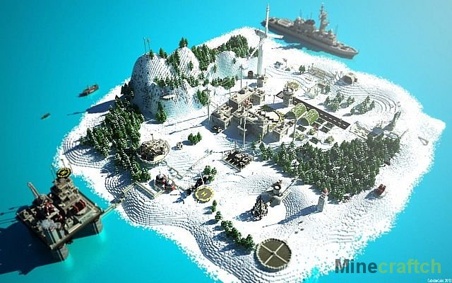 Карта desert military base (военная база в пустыне) для игры майнкрафт.