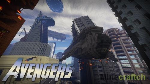 Карта Город с башней Старка из Мстителей для Minecraft